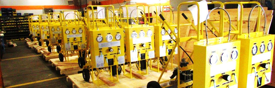Pneumatic nitrogen carts used for setting and filling struts on aircraft
